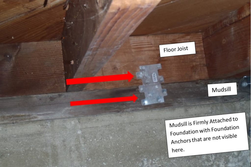 Simpson Strongtie retrofit hardware being used to counter-act movement of floor
