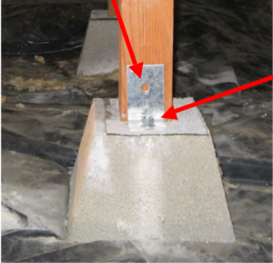 Metal at base of post attaching post to concrete block under house found in plans from a local seismic retrofit engineer
