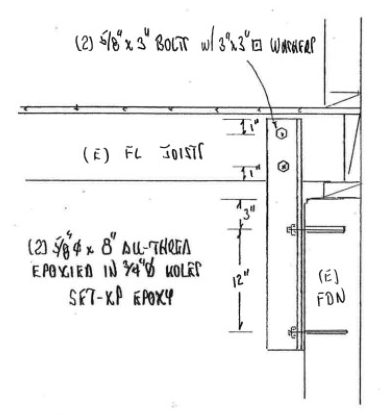 Diagram from engineer's plans showing angle iron brace