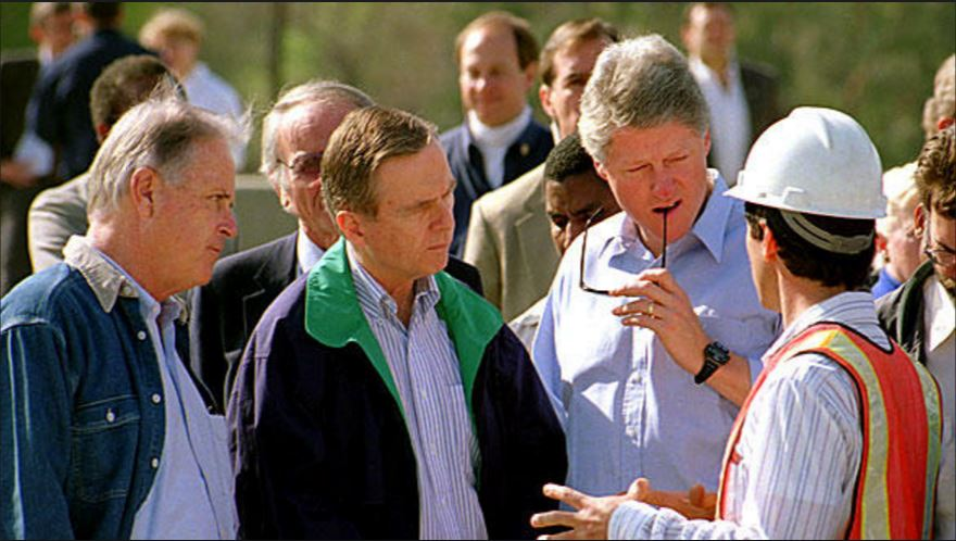 Bill Clinton surveying damage after the Northridge Earthquake
