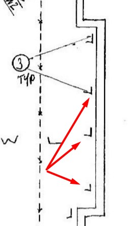 Angle iron brace on engineer's plans