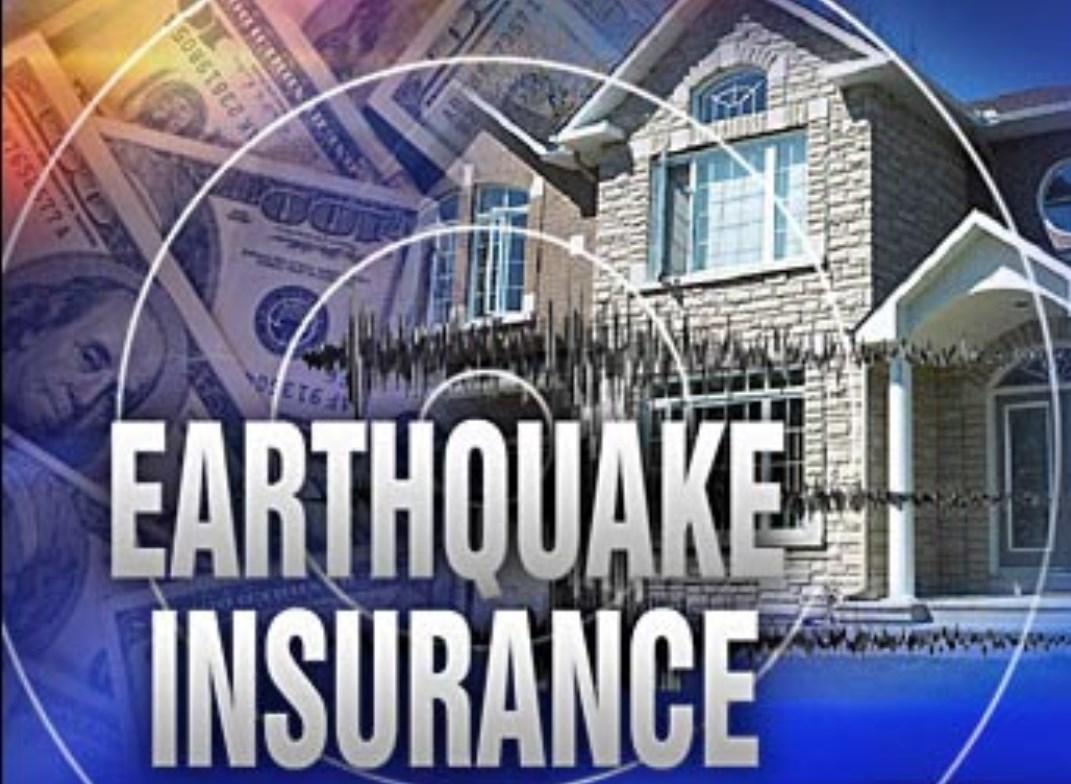 "Image showing house, circles that radiate like earthquake waves, and says ""Earthquake Insurance"""