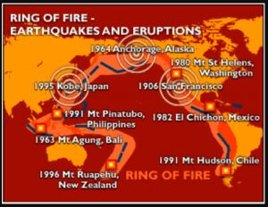 California's Earthquakes and the Legendary Volcanic Ring of Fire